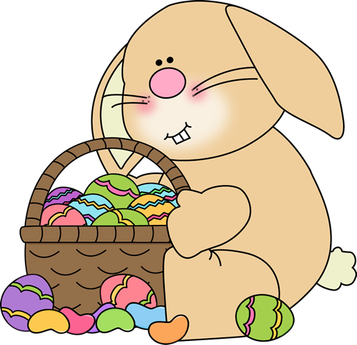 Bunny Sitting with an Easter Basket