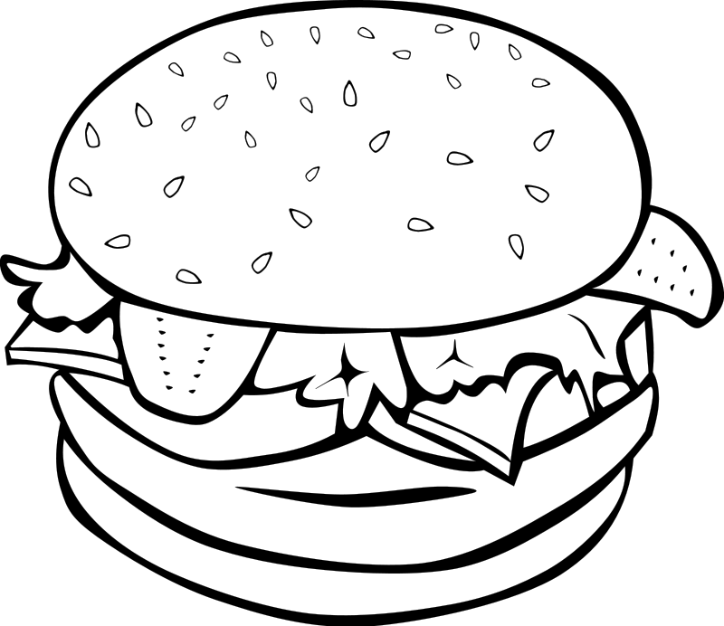 Burger Food Clipart Png 116 86 Kb Burgers Black White Food Clipart Png