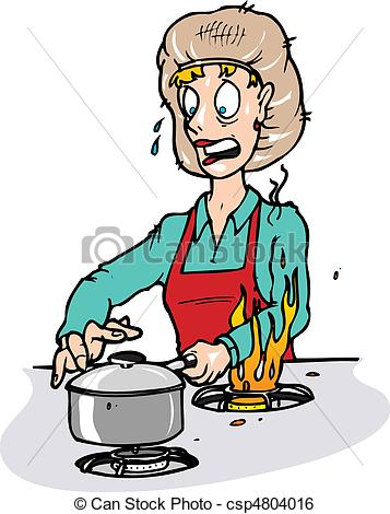 Burn clipart: of a stove burning her arm