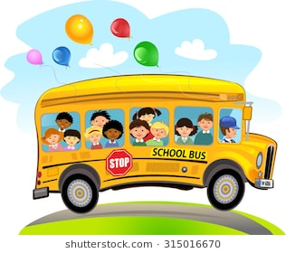 Cartoon School Kids Riding a School Bus