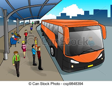 ... Bus Stop - Cartoon illustration of a bus stop
