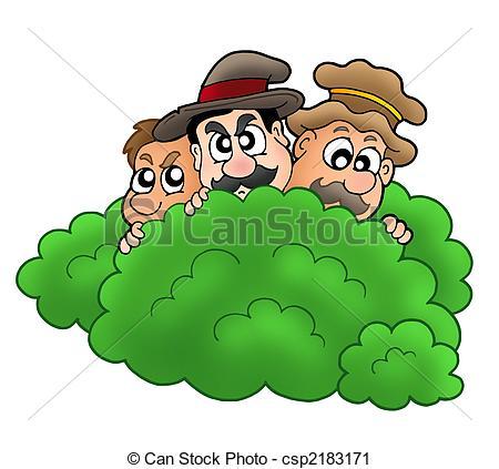 Cartoon robbers behind bush - csp2183171-Cartoon robbers behind bush - csp2183171-10