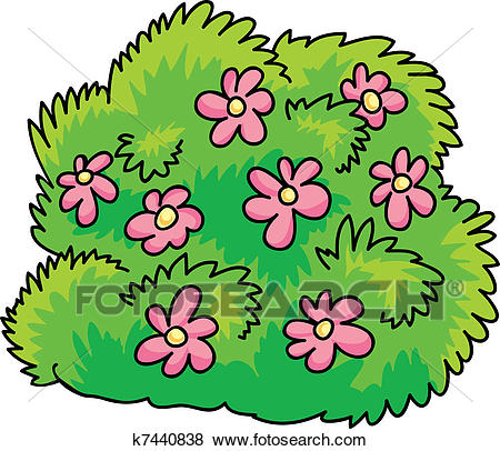 Clip Art - bush with flowers. Fotosearch - Search Clipart, Illustration  Posters, Drawings