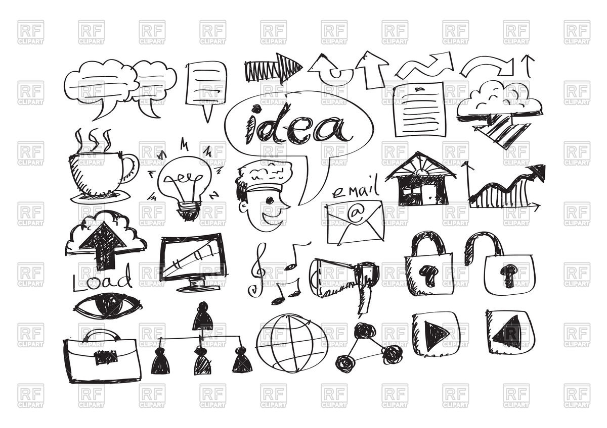 Business Icons In Hand Drawn Style. Clic-Business icons in hand drawn style. Click to zoom-5