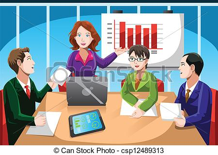 ... Business meeting - A vector illustration of business people.