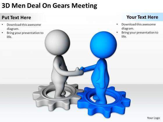 Business People Clip Art 3d Men Deal On Gears Meeting Powerpoint