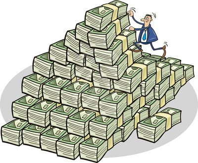 Businessman climbing on money mountain - clipart #