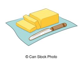 Butter blocks and curls; Vector Illustration of Butter and Knife ...