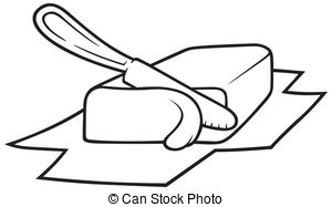 ... Butter - Knife Cutting Butter, Black-... Butter - Knife Cutting Butter, Black and White Cartoon... Butter Clip Art ...-19