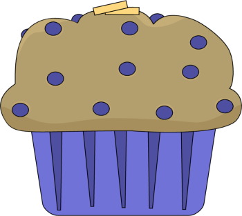 Buttered Muffin - clip art image of a muffin with pats of butter.