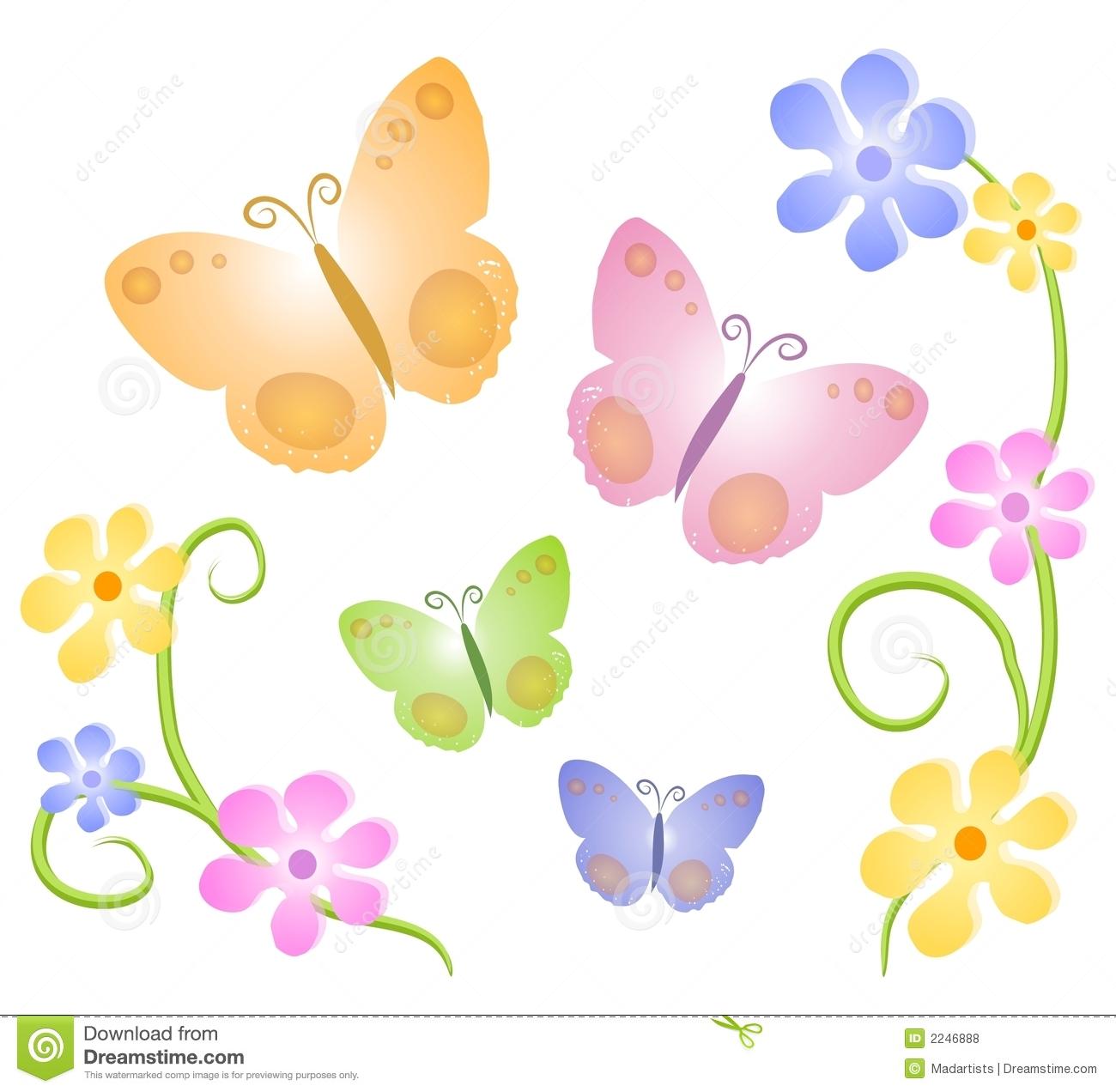 Butterflies Flowers Clip Art 2 .