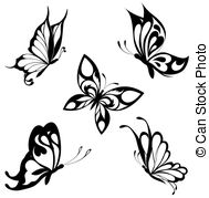 . ClipartLook.com Set black white butterflies of a ta - Black a white set of.