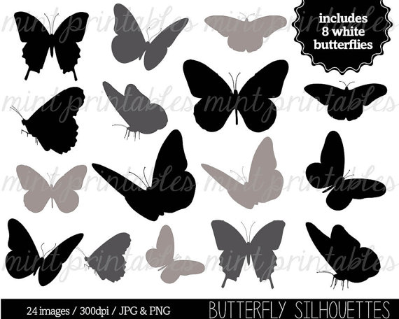 Butterfly Silhouette Clipart .