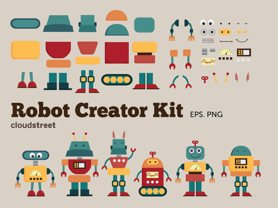 buy 2 get 1 free Cute Robots Creator Kit clip art for personal and commercial use