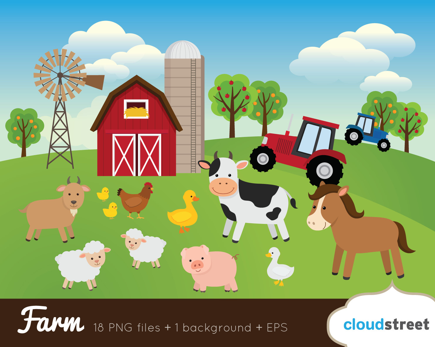 buy 2 get 1 free Farm Clip Art / Farm Animals Clipart / barnyard vector graphics illustration / barn cow sheep pig horse commercial use ok