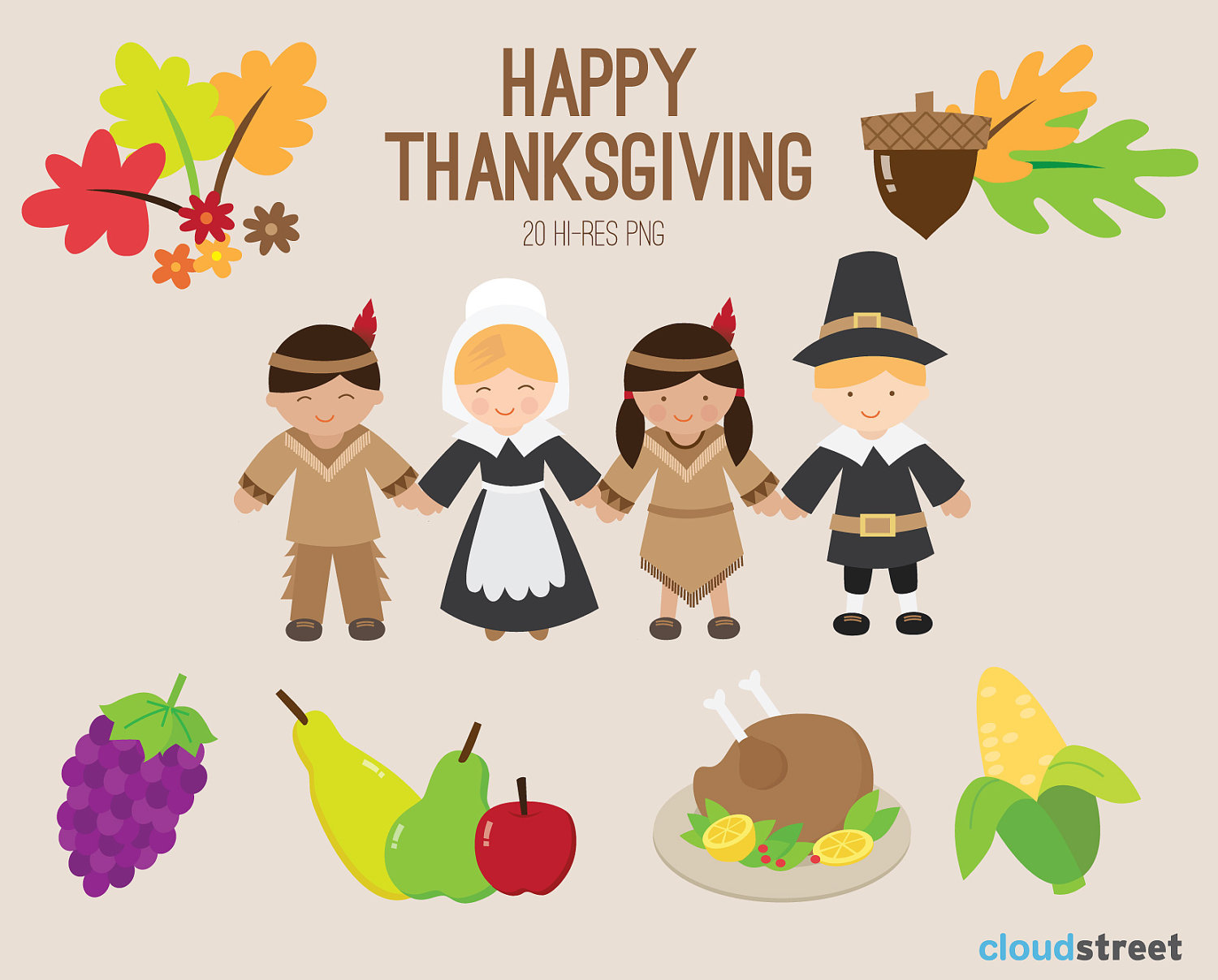 Buy 2 Get 1 Free Happy Thanksgiving Clip Art For By Cloudstreetlab