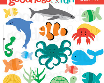 Buy 2, Get 1 FREE - In The Sea Animal Clipart - Digital Ocean u0026 Sea Animal  Clipart - Instant Download