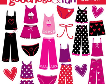Buy 2, Get 1 FREE - Pretty Pajamas Clipa-Buy 2, Get 1 FREE - Pretty Pajamas Clipart - Digital Pajamas u0026amp; Valentine Clipart - Instant Download-0