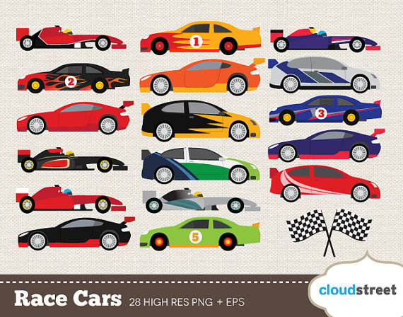 buy 2 get 1 free Race Cars clip art for personal by cloudstreetlab
