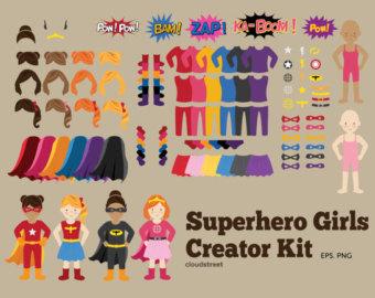 Buy 2 Get 1 Free Superhero Girls Creator-buy 2 get 1 free Superhero Girls Creator Kit clip art for personal and commercial use ( superhero girl clipart )-2