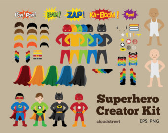 buy 2 get 1 free Superheroes Creator Kit clip art for personal and commercial use ( superhero clipart )