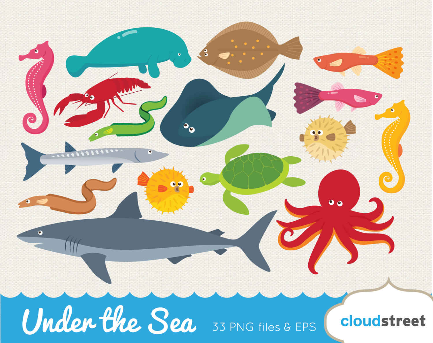 buy 2 get 1 free vector under the sea clip art / sea creatures clipart puffer fish shark octopus manatee turtle stingray / commercial use ok
