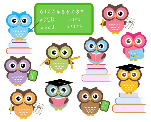 BUY 2 GET 2 FREE - Cute Owls At School --BUY 2 GET 2 FREE - Cute Owls At School - Classroom Education Clip Art --1