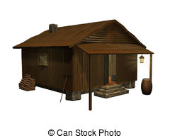 ... Cabin Cozy - 3d Rendered Wooden Cabi-... Cabin cozy - 3d rendered wooden cabin on white background.-9