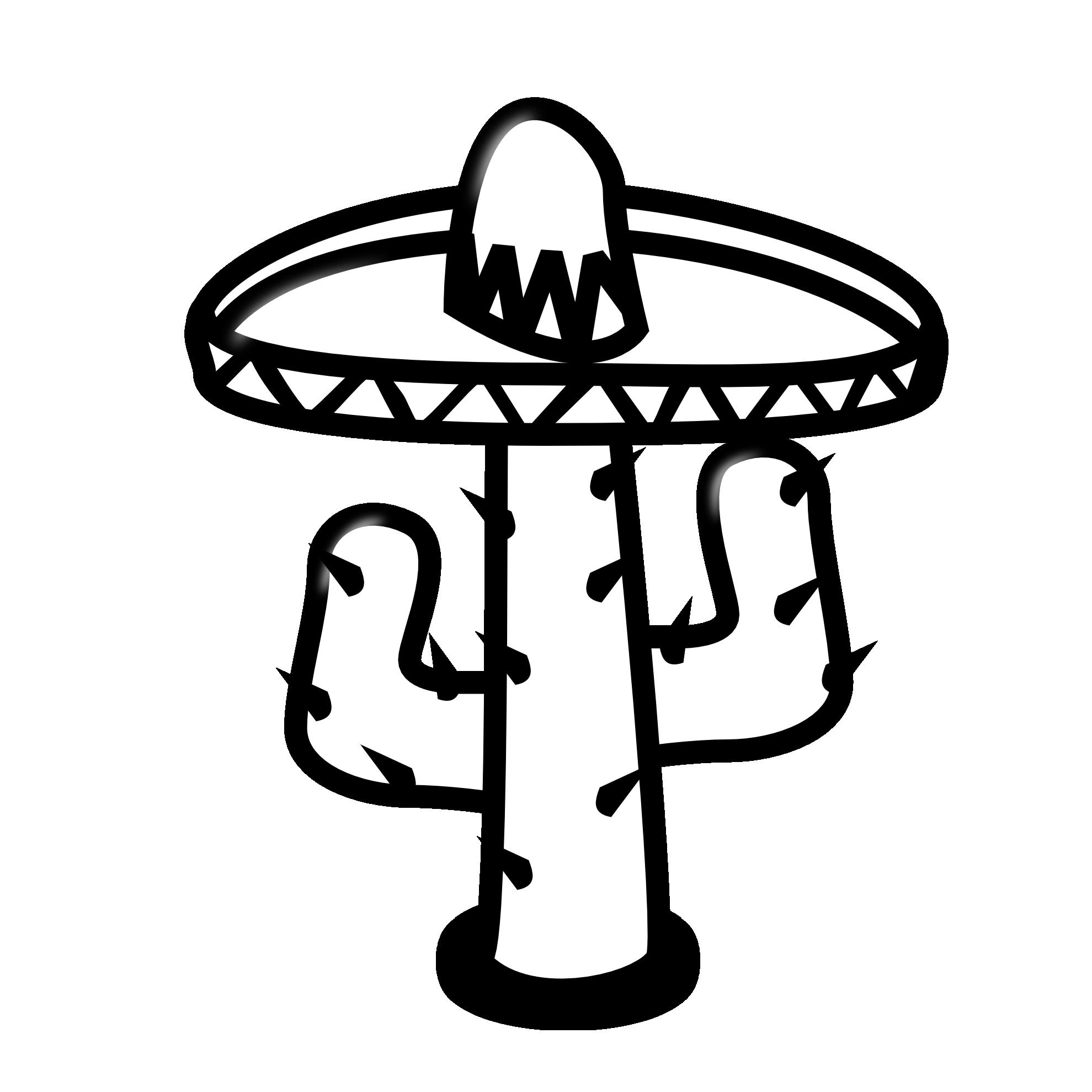 Cactus Clipart Black And White Cactus 19-Cactus Clipart Black And White Cactus 19 Black White Line-4