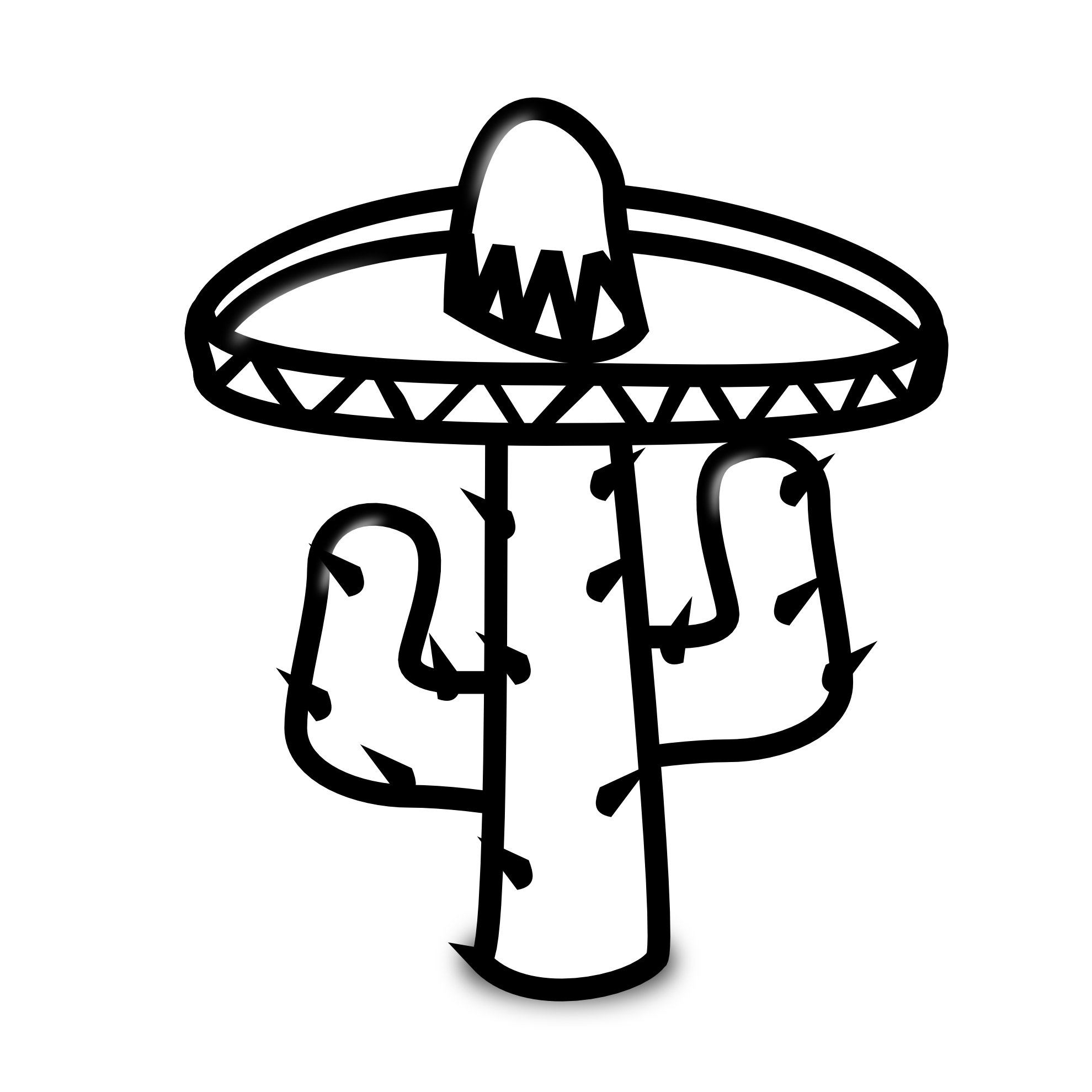 Cactus Clipart Black And White Cactus 19 Black White Line