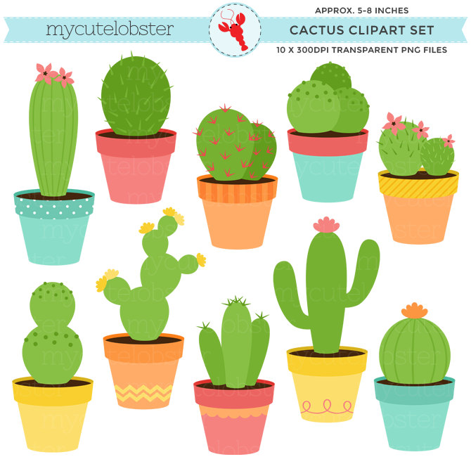 Cactus Clipart Set - Clip Art Set Of Cac-Cactus Clipart Set - clip art set of cactus, cacti, cactuses, plants, desert, pots - personal use, small commercial use, instant download-10