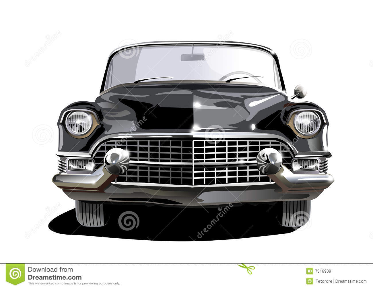 Black cadillac. Front view of a black classic cadillac Convertible Royalty  Free Stock Images