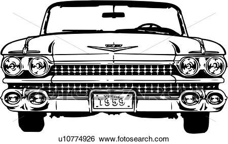 Clip Art - illustration, lineart, classic, car, auto, automobile, cadillac