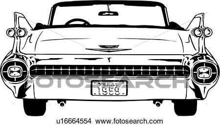 Clipart - illustration, lineart, classic, car, auto, automobile, cadillac.