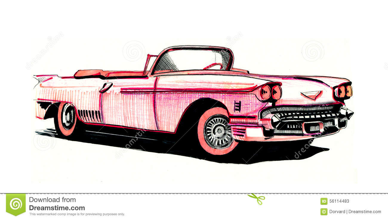 Pink Cadillac, hand drawing. Pink Cadillac a retro style on a white backgrd  Stock