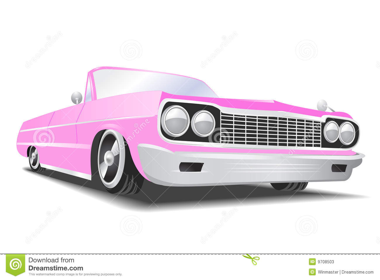 Pink vector cadillac. Vector Illustration. Classic american car made in  pink Stock Photos