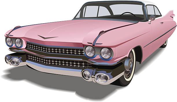 Vector Pink Cadillac vector art illustration
