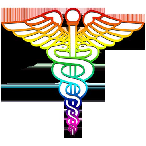 Caduceus medical logo rainbow clipart image - ipharmd.