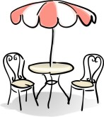 Cafe Table with Red and White Umbrella C-Cafe Table with Red and White Umbrella Clipart-4