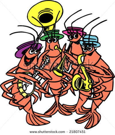 Cajun Clipart Shrimp Band Stock Vector