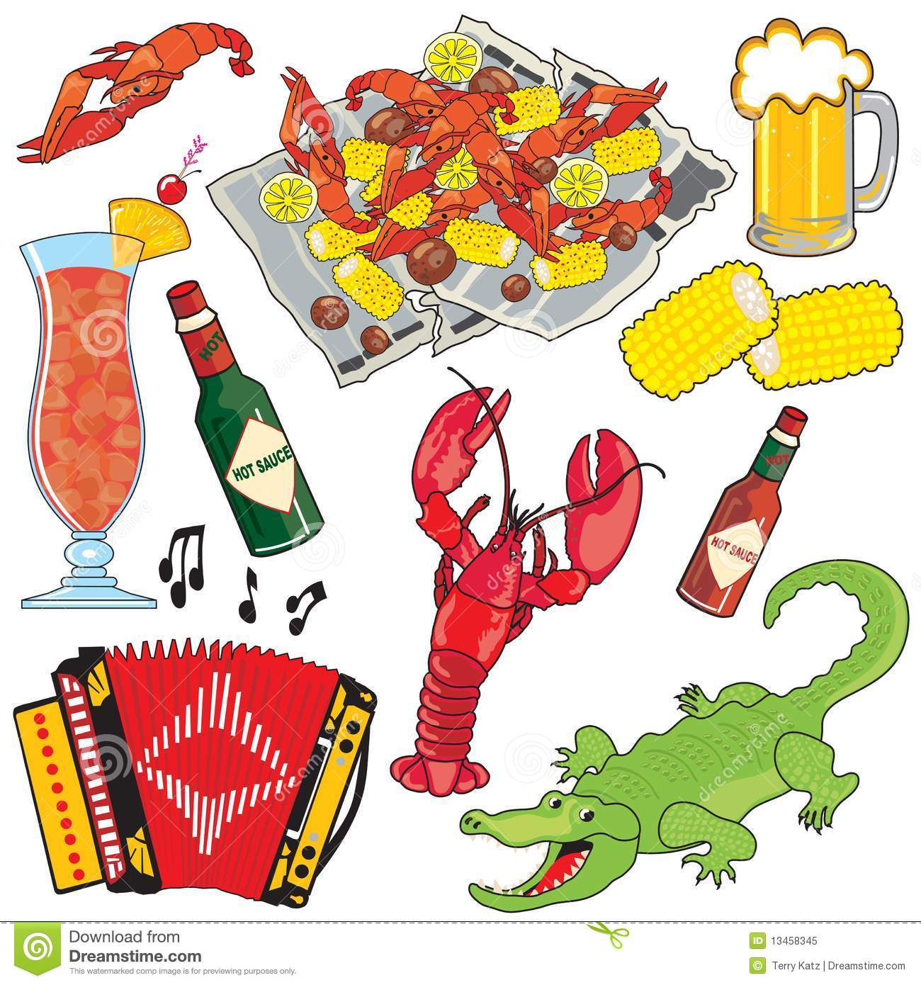 Cajun Food, Music and drinks clipart icons and ele
