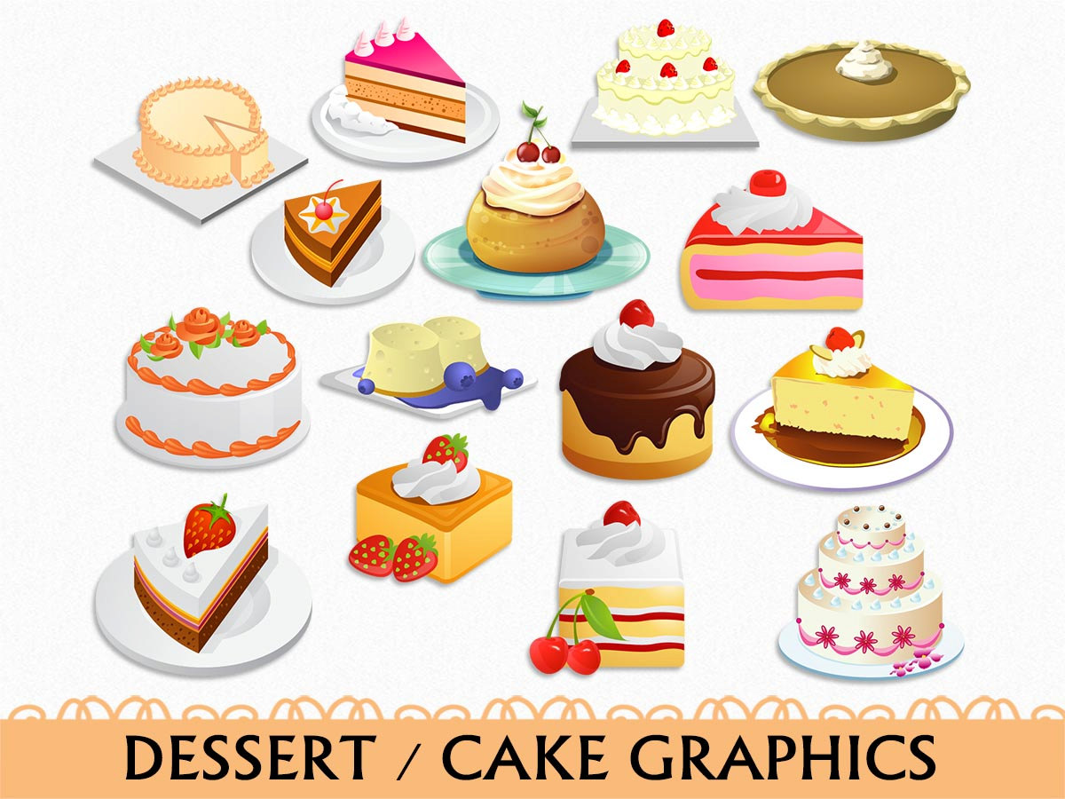 Cake Clip Art Graphic Food Sweets Desser-Cake Clip Art Graphic Food Sweets Dessert Clipart Scrapbook Chocolate Strawberry Vanilla Digital Transparent PNG Vector Commercial Use-0