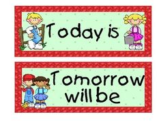 Calendar cards that include the days of -Calendar cards that include the days of the week, Today is, Yesterday was,-11
