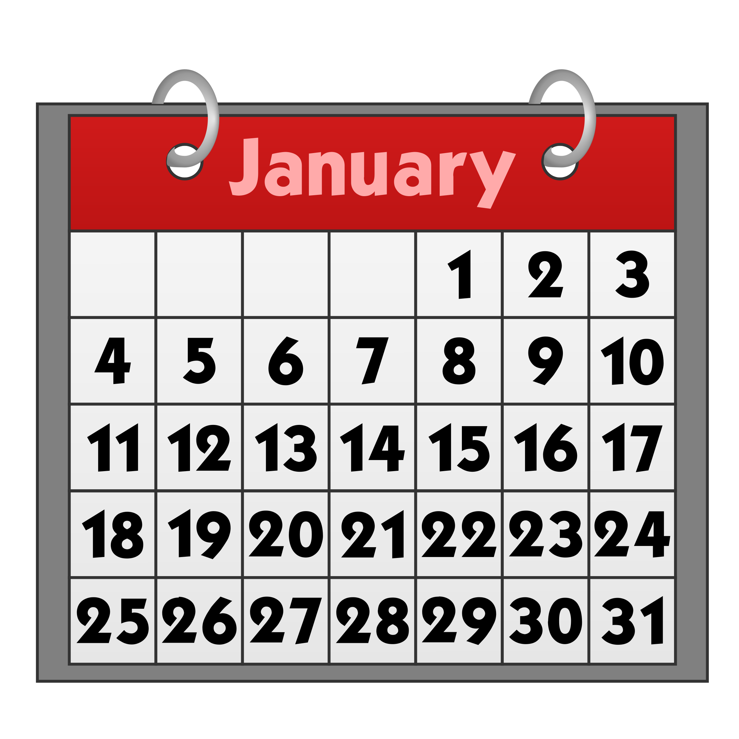 Calendar clip art free calendar clipartcow