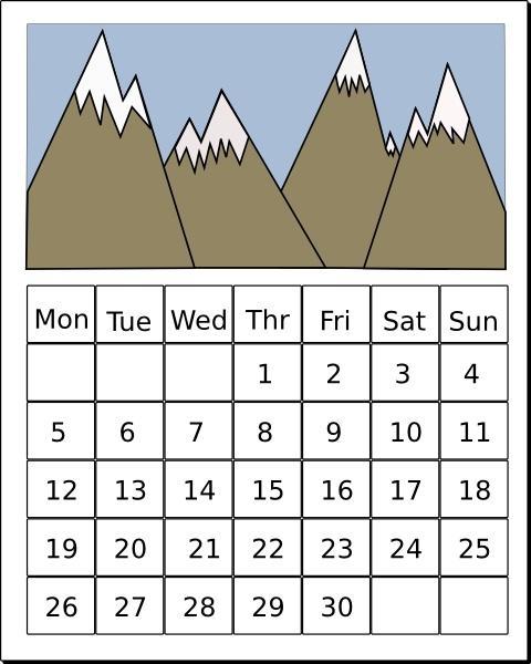 Calendar clip art Free vector 93.20KB