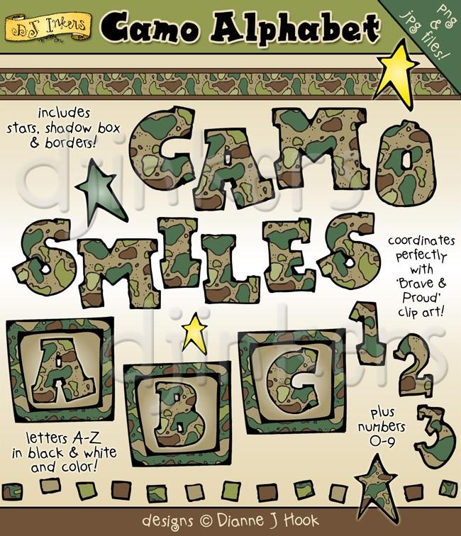 Camo Clip Art Alphabet, camoflauge letters, army clip art