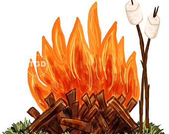 Campfire and Marshmallow Clip Art - wate-Campfire and Marshmallow Clip Art - watercolor Clip Art, Bonfire clip art, roasting marshmallows, camping clip art, camping clipart-14