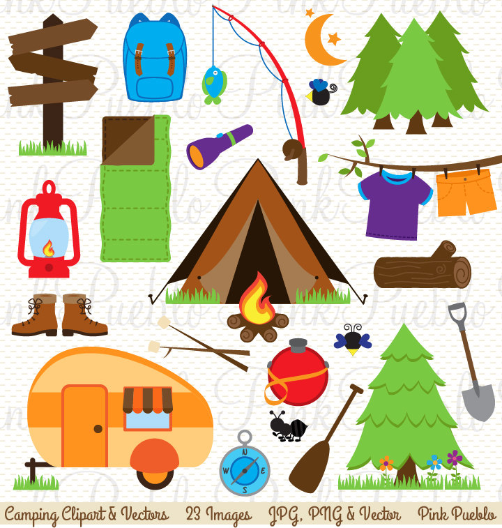 Camping Clip Art, Camping Clipart, Campi-Camping Clip Art, Camping Clipart, Camping Invitation or Camping Birthday  Clipart - Commercial and Personal Use-7