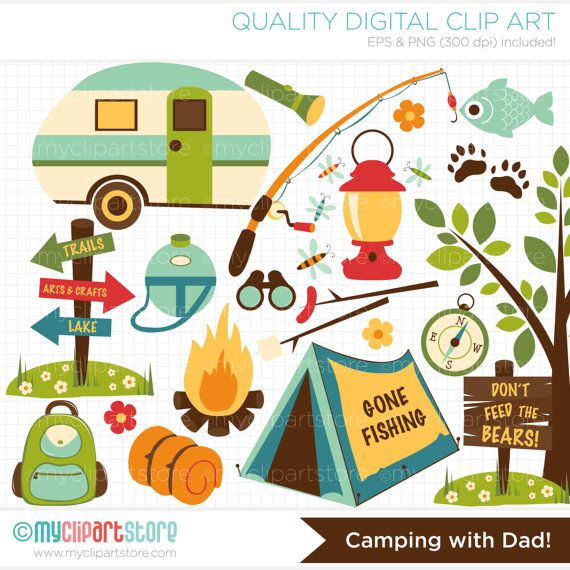 Camping Clipart - Dad / Fatheru0027s Day, fishing rod, camp fire - vector  graphics, digital clip art, digital images, commercial use clipart