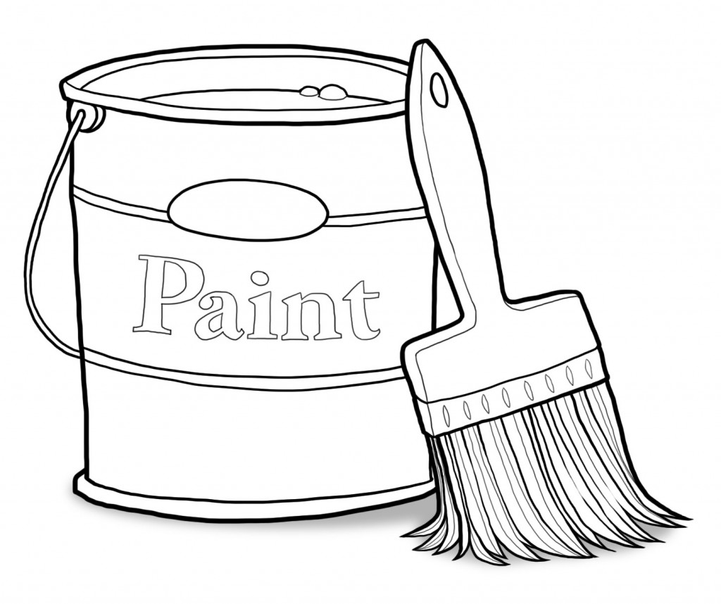 Can and Paint Brush Clip Art - Paint Can Clip Art